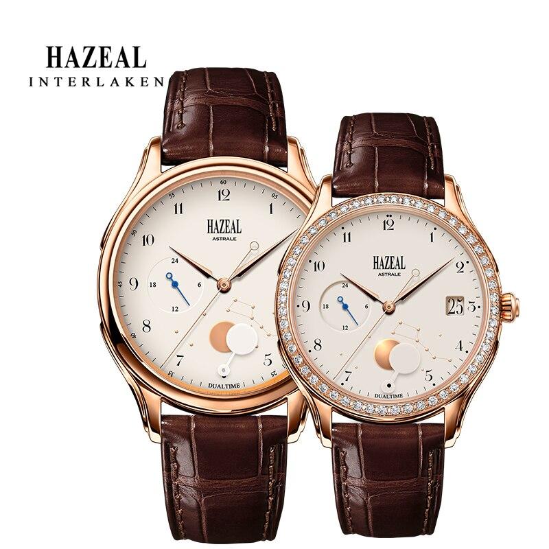 Часы HAZEAL для пары, оригинальный дизайн, мужские кварцевые часы, швейцарские роскошные часы, мужские наручные часы с сапфиром