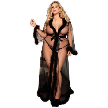 Seksowna koronkowa bielizna szata długa sama piżama Plus rozmiar seksowna sukienka kobiety przezroczysta gorąca bielizna erotyczna tanie i dobre opinie Vieruodis Rayon WOMEN Spać topy Large size Pełna Koronki silk Stałe summer V-neck