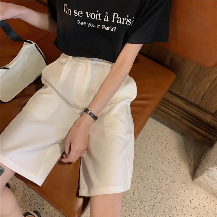 H322123b70185407e95ffb1fe51ea4328t - Summer High Waist Wide Leg Loose Solid Shorts