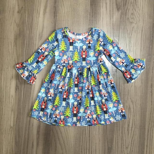 Exclusive Girlymax Christmas Tree Girls Children Clothes Baby Deer Winter Long Sleeve Ruffle Gingerbrea Milk Silk Dress Boutique 5