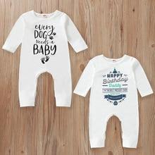 Newborn Twin Baby Clothes Happy Birthday Daddy Letter Print