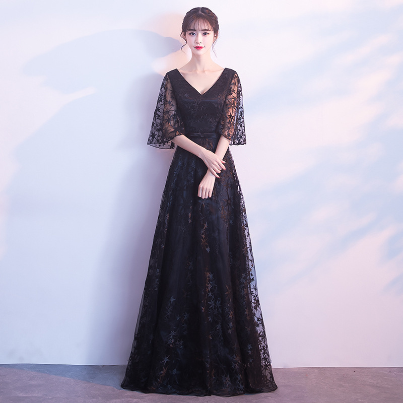 Vestidos De Festa Curto Limited Banquet Evening Dress 2020 New Slim Host Female Elegant Sexy Thin Princess Performance Long