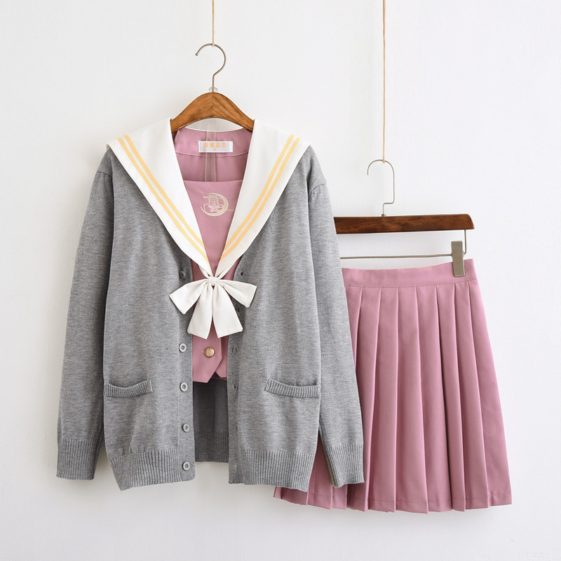 Japanese School Uniform For Girls Sailor Tops+Tie+Skirt Pink Style Students Clothes For Girl Plus Size Lala Cheerleader Clothing