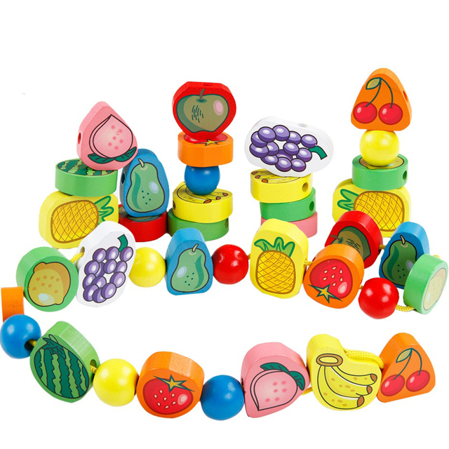 48Pieces Set Toddler Boys Girls Wooden Fruit Vegetable Beads Block Toy Stringing Threading Early Education Toy