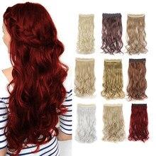 Leltinta-extensiones de cabello sintético para mujer, Pelo Rizado de 24 pulgadas, 3/4 de cabeza completa, 5 Clips, 155g (vino tinto)