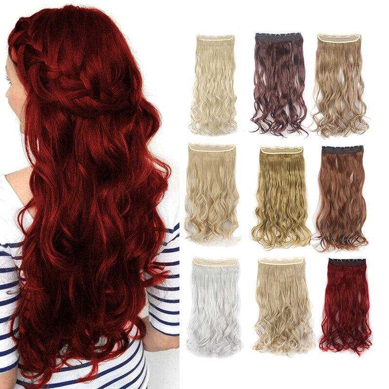 """Lelpinta 24 """"Paquete de 1 onda rizada rubia cabello mezclado 19 colores Clips en extensiones de cabello sintético extensiones de cabello para mujeres 5 Clips"""