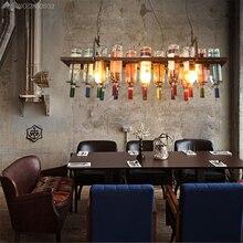 Lámparas de techo colgante Retro recicladas creativas que cuelgan la botella de vino lámpara Led comedor/Bar/iluminación de la cocina del restaurante accesorio