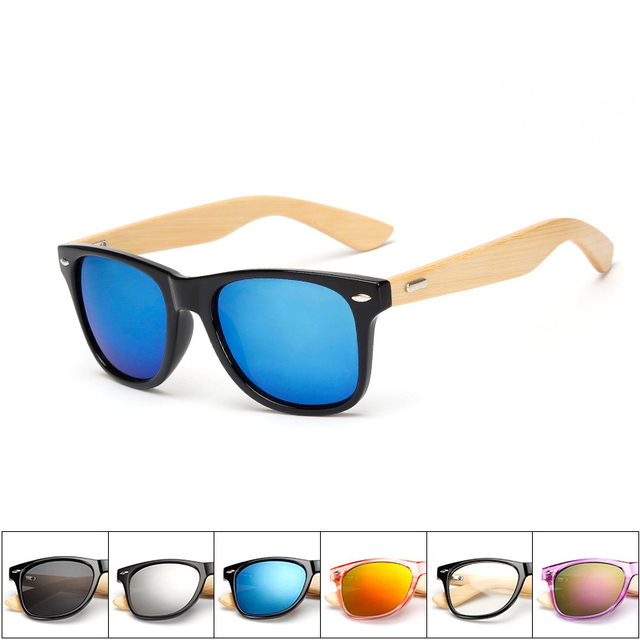 Retro Bamboo Wood Frame Polarized Sunglasses - UV400 1