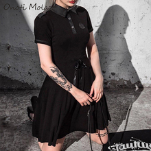 Onoti Molazo Gothic Black Dark Mini Shirt Dress Stylish Punk Retro Vintage Party Womens Dresses Female 2019 Summer Autumn New