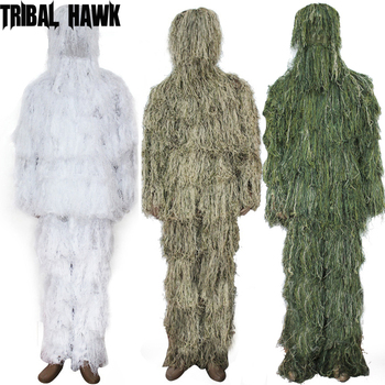 Full Size 3D Withered Grass Ghillie Suit 5 PCS Sniper Military Tactical Army Shooting Hunting Camouflage Clothes Birding Suit 1