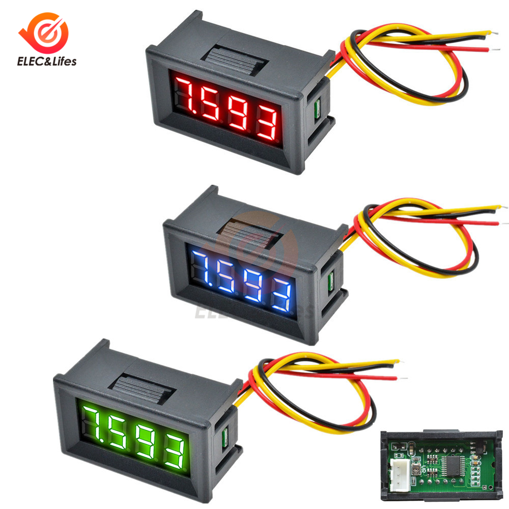 0.36 Inch Mini Digital Voltmeter DC 0V-100V 3 Wire 4 Bit Precision Voltage Meter Panel Tester For Electromobile Motorcycle Car