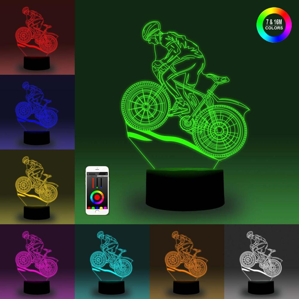 NiteApps Man Driving A Motorcycle 3D RGB LED Night Light Desk Table Illusion Lamp Holiday Birthday Gift APP/Touch Control