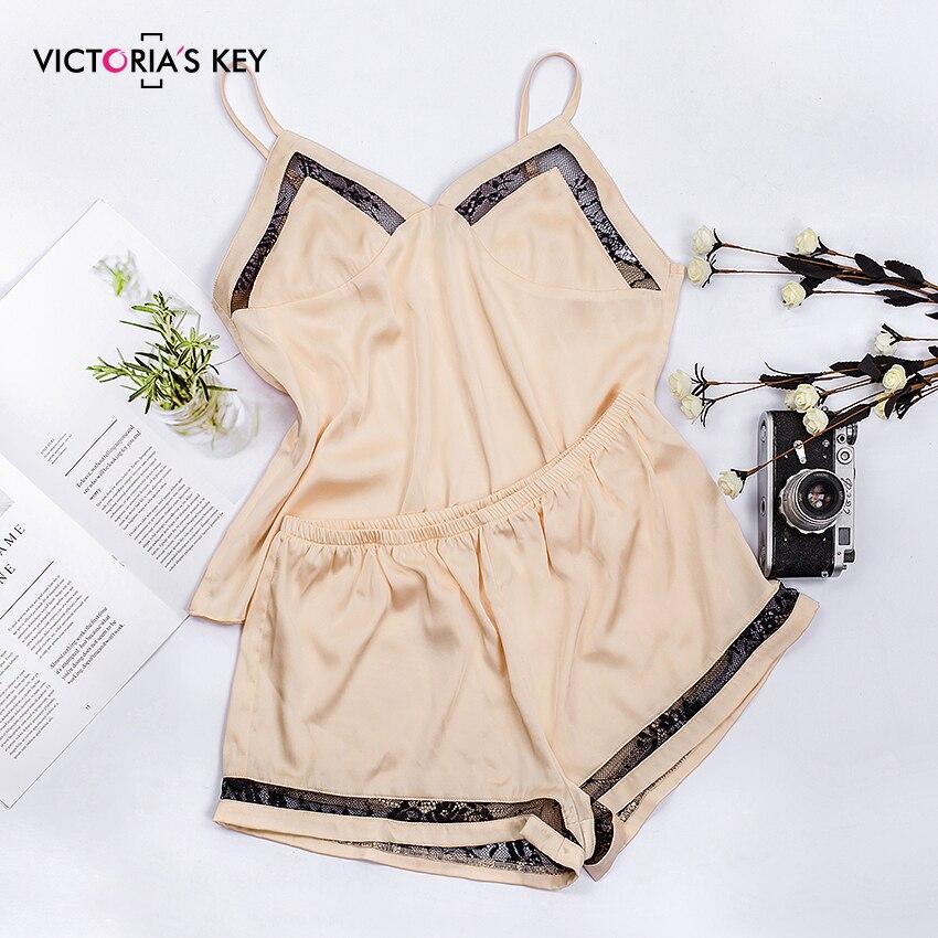VICTORIA'S KEY Khaki Sexy Sleepwear Women Pajama Set Satin Cami Top Shorts Mesh Stripe Side Female Summer Home Night Suit 2019