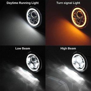 """Image 3 - 7 """"zoll Schwarz Chrome LED Projektor Motor Scheinwerfer + 4 1/2 Vorbei Lichter Für Touring Electra Glide"""