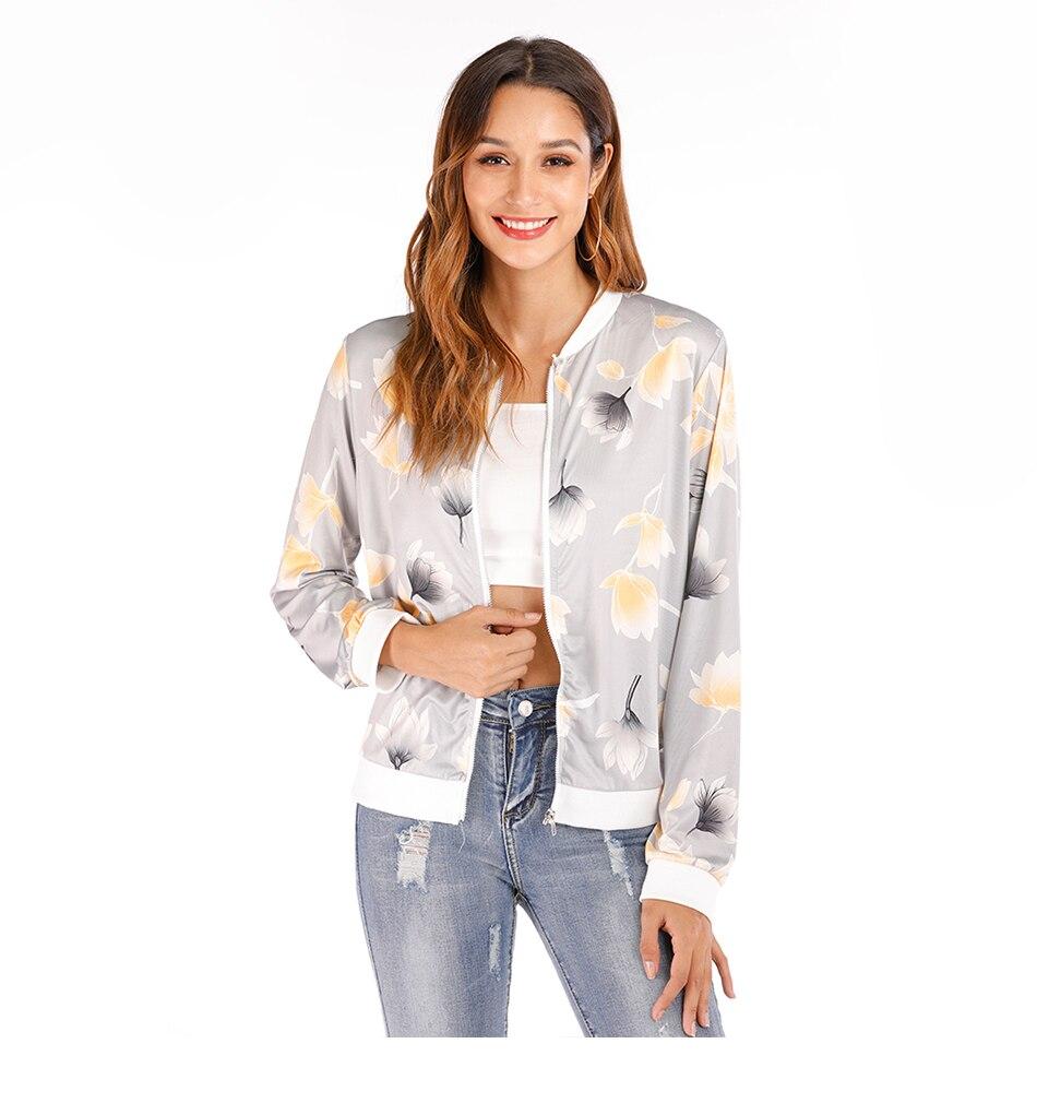 Print Bomber Jacket Women Flowers Zipper Up Retro Coat Spring Summer Long Sleeve Basic Plus Size Short Biker 45