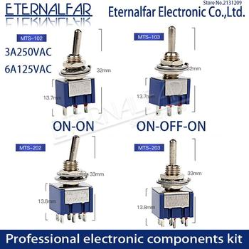 цена на SPDT Latching Toggle Switch 6A 125V MTS-102 103 MTS-202 203 3A 250 AC Mini 3 6PIN ON-ON ON-OFF-ON Rocker Switches Lights Motors