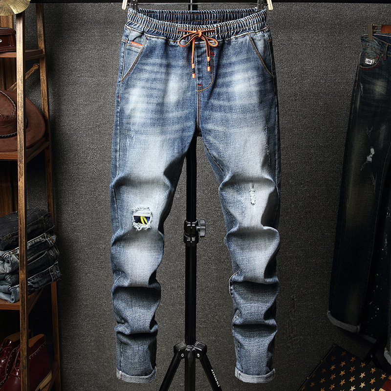 REPPUNK 2019 Men's Jeans Streetwear Hiphop Style Ripped Patchwork Male Quality Cotton Elastic Skinny Patch Trend Stretch Jeans