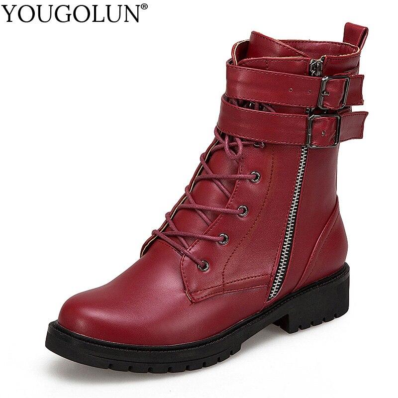 Bottines à lacets femmes Autmn hiver bas talon carré chaussures femme A337 mode dames noir vin rouge boucle Zipper bottes d'équitation