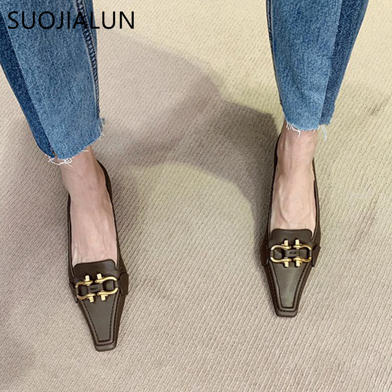 SUOJIALUN Fashion Brand Design Buckle Women Pumps Square Toe Slip On Work Shoes Low Heel Spring Autumn Party Wedding Shoes