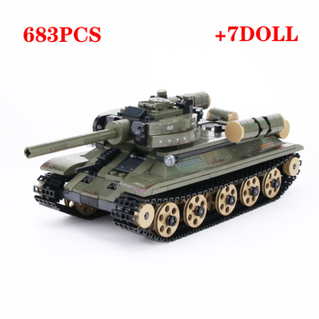 WW2 Military Soviet T-34 Tank Building Blocks Army Soldiers Figures Weapon parts Bricks Toys for Children