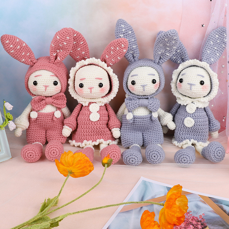 Handmade DIY Knitting Crocheted Doll Materials Package Wool Couple Rabbit Unfinished Plush Toy With Weaving Tools Children Gifts