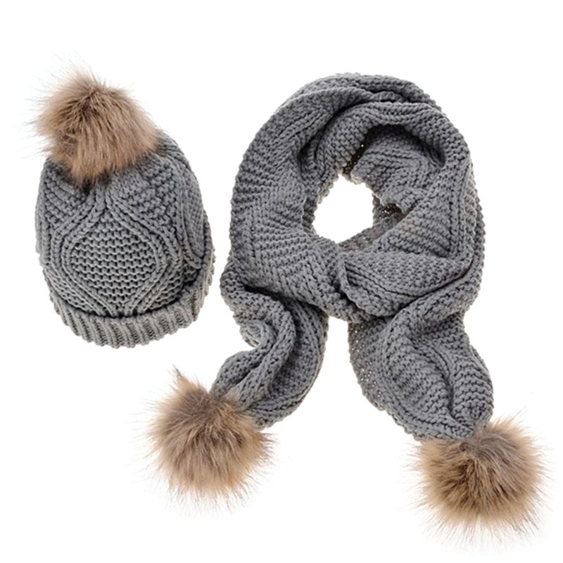 Women Winter Scarf Hat Set Rhombus Knit Pompom Ball Cuffed Beanie Cap Shawl