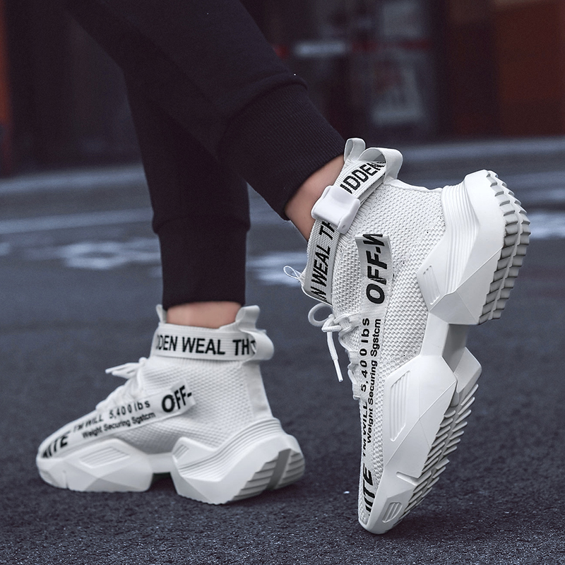 High-Top Sneakers Platform-Shoes Street-Wear White Breathable Spring/autumn Casual Zapatos-De-Hombres title=