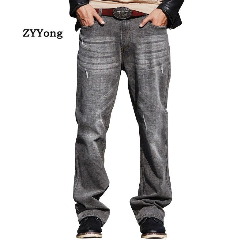 Men Wide Leg Denim Pants Harem Hip Hop Gray Retro Skateboarder Jeans Large Size Loose Baggy Straight Leisure Joggers Trousers