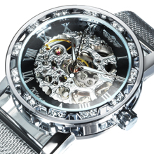 WINNER Official Fashion Skeleton Men Watches Silver Top Brand Luxury Mechanical Mesh Strap Crystal Iced Out Ultra Thin Ladies