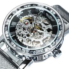Часы скелетоны WINNER Мужские механические, модные брендовые Роскошные ультратонкие брендовые механические ультратонкие со стразами и сетчатым ремешком