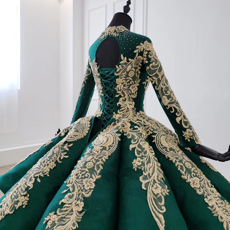 Image 4 - HTL1099 Luxury green evening dress long sleeve appliques beads ball gown lace arabic evening dress plus size vestidos elegantesEvening Dresses   -