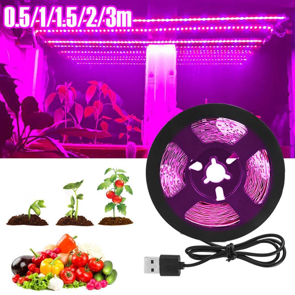 LED Grow Light Full Spectrum USB Grow Light Strip 0.5m 1m 2m 2835 Chip LED Phyto Lamp For Plants Flowers Greenhouse Hydroponic