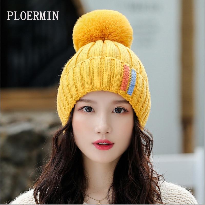 New Pompom Women Winter Hats Casual Beanies Fashion Crochet Knitting Hat Brand Thick Female Cap Hat Bone Feminino Wholesale