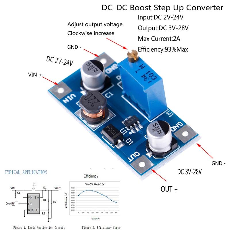 5A DC-DC Boost Step Up 7V-30V To 9V-35V 12V 19V 24V Adjustable Converter Module