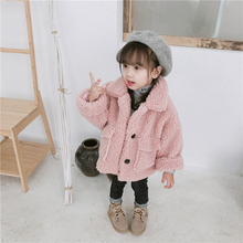 цена на Kids Children's Warm Jacket Girls Winter Thick Coat Long Sleeve Lapel Button Down Faux Shearling Shaggy Coat Jacket with Pockets