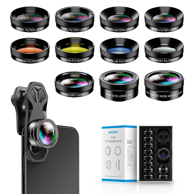 APEXEL 11 in 1 kamera Telefon Objektiv Kit weitwinkel makro Volle Farbe/grad Filter CPL ND Sterne Filter für iPhone Xiaomi alle Smartphone