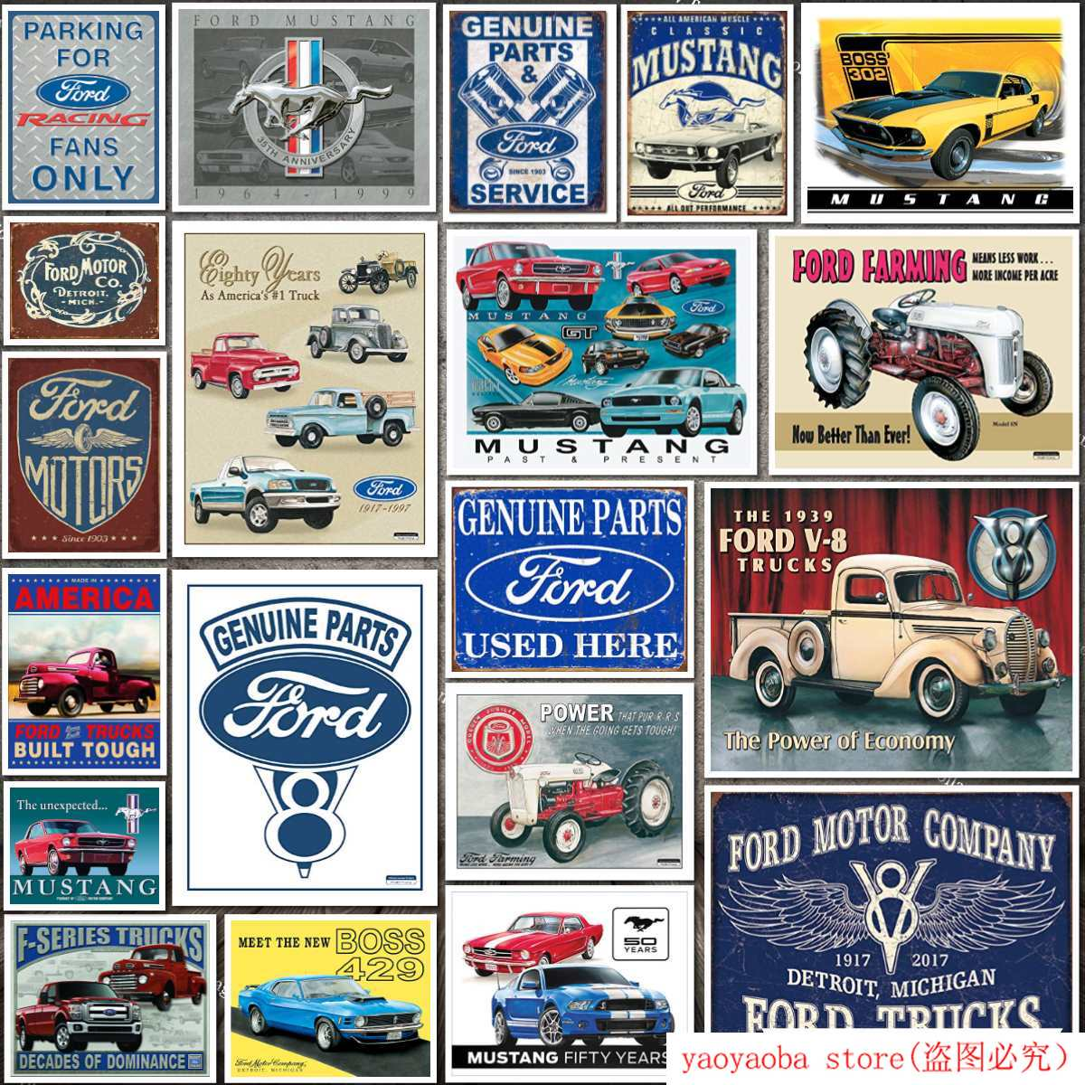 FORD GENUINE PARTS Authorised Tin Sign Bar pub Wall Decor Retro Metal Poster