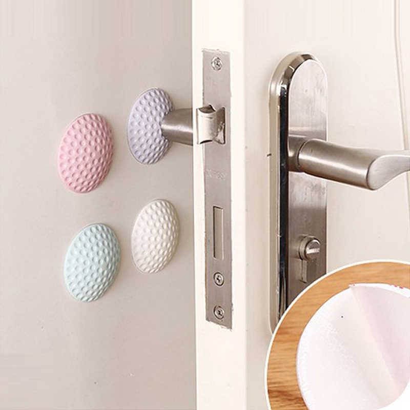 4PCS Silicone Wall Sticker Protectors Door Handle Pads and Bumper Buffer Guard Stoppers Silencer Crash Pad Door Handle Lock