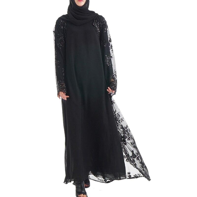 High Class Embroidery Sequins Dubai Muslim Women Maxi Dress Cardigan Long Robe Kimono Ramadan Arab Islamic Worship Matching Belt