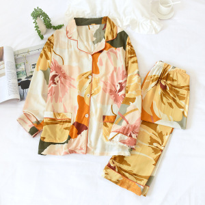 Image 2 - 2 Suits Sleepwear Autumn Classical Magpie Printing Satin Pajamas Long Sleeve Loungewear Women Turn down Collar Thin Home Clothes