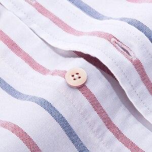Image 4 - גברים מקרית 100% כותנה אוקספורד פסים חולצה אחת תיקון כיס ארוך שרוול סטנדרטי נוחה עבה כפתור למטה חולצות