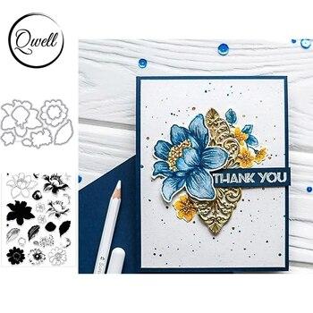 Troqueles de corte de Metal QWELL Flower Bud y pétalos florales de silicona transparente para manualidades tarjetas de papel álbum DIY Scrapbooking 2020