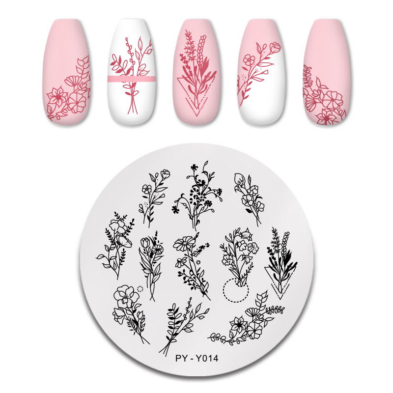 PICT You Nail Stamping Plates Flower Patterns Stainless Steel Tools Nail Art Stamp Template Design  Stencil Tools