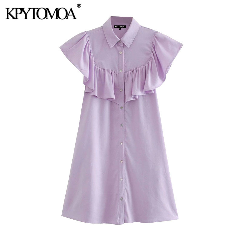 KPYTOMOA Women 2020 Chic Fashion With Ruffles Button-up Mini Dress Vintage Short Sleeve Side Pockets Female Dresses Vestidos