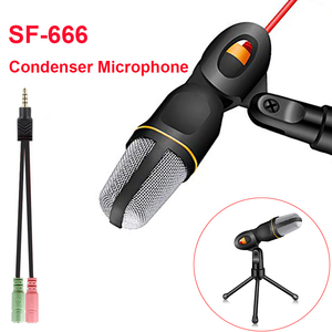 Condenser Microphone for Computer 3.5mm Cable Stereo Microfone for Podcast Singing Recording Mic With Desktop Tripod for Phone