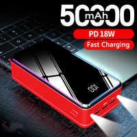 Высокая емкость 50000 мАч портативное зарядное устройство Внешняя батарея с фонариком внешний аккумулятор для iPhone 11 XR Xiaomi повербанк