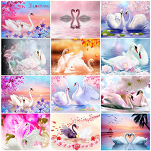 HUACAN 5D Diamond Embroidery Full Square Swan Painting Animal Picture Handcraft Diamond Art Mosaic Home Decoration