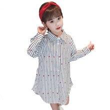 Blouse Shirt Girl Cotton Flower Blouse White Shirt Black Stripe Red Dot Blouse Girl Long Sleeve Blouse Collar Girl 2019 4-13Y цена 2017