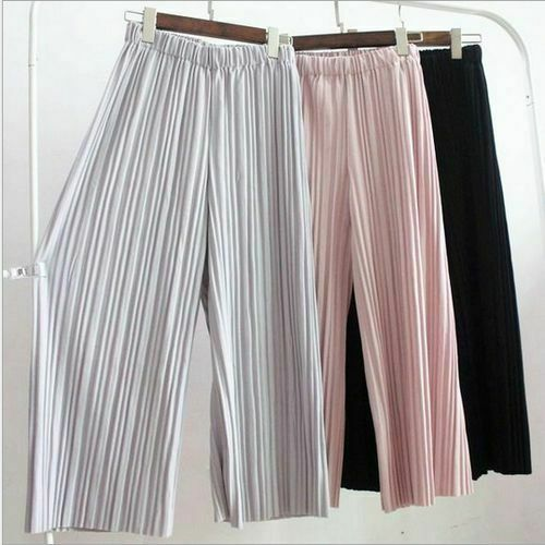 2019 New Pants Women Girl Solid Color Pleated Wide Leg Female Summer High Waist Chiffon Long Students Korean Fashion Casual Pant