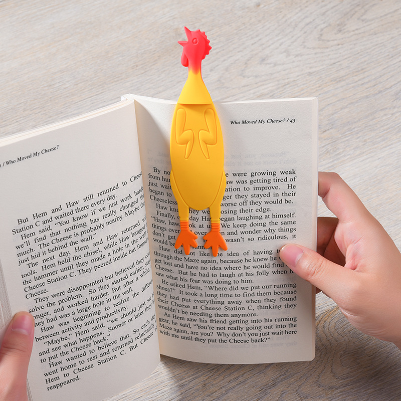 Yellow Screaming Chicken 3D Stereo Bookmark Original Cute Cartoon Lovely Animal Funny Student Children Stationery Kids Gift